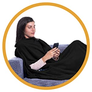 wearable blanket fleece sherpa playing gaming sleeping lie down blanket throw blue is the warmest