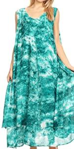 swing dress A-line sundress beach cover-up tank dress boho summer sleeveless  casual midi short maxi