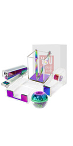 cute rainbow multicolored desk set