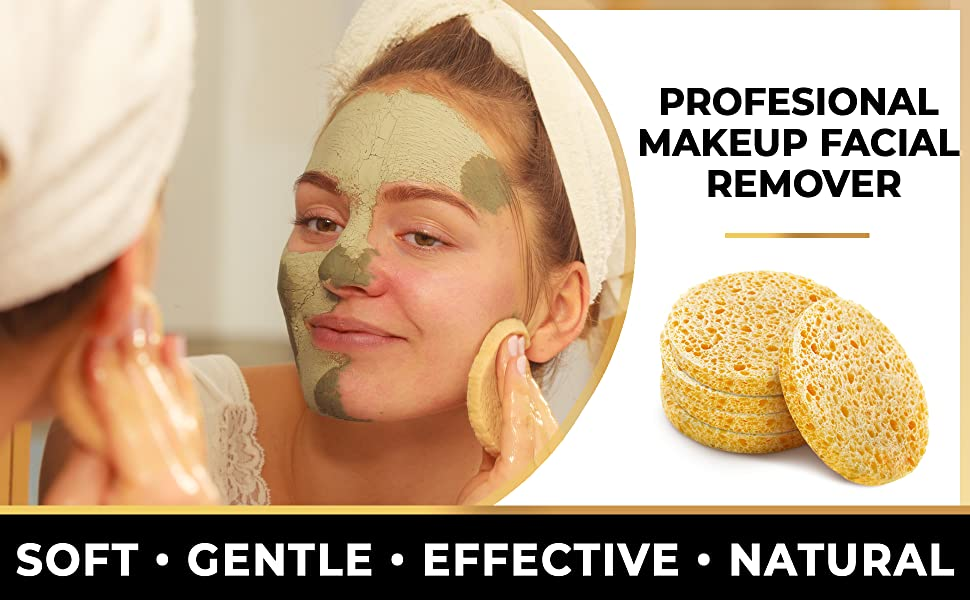 Facial Sponges, Compressed Cellulose, Natural, Cleanser, Makeup Remover