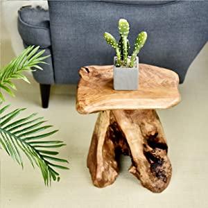 Tree Stump Stool Natural Wood Cedar Live Edge side Table Plant Stand Nightstand Patio Furniture