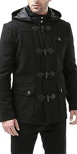 BGSD Men's Nathan Wool Blend Patch Pocket Short Toggle Coat