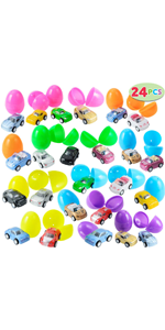 24 Pcs Filled Easter Eggs with Toy Cars