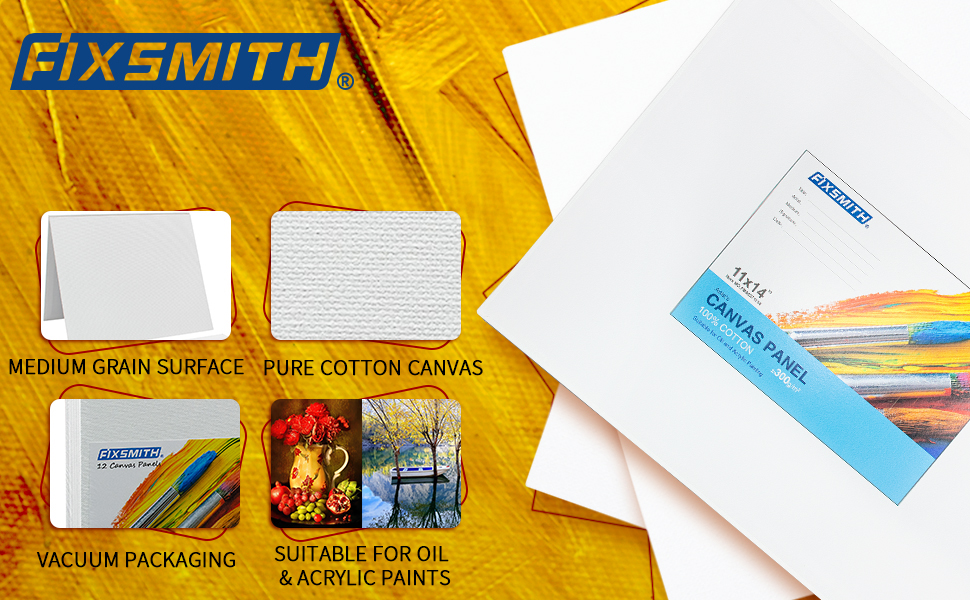 FIXSMITH 11X14 INCH Painting Canvas Panel Board