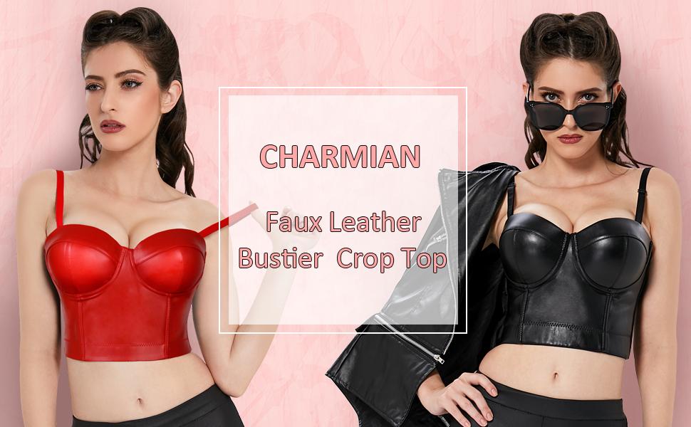 Faux Leather Bustier Crop Top