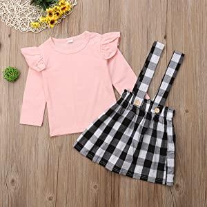 Baby Girl Suspender Skirt Set Pink