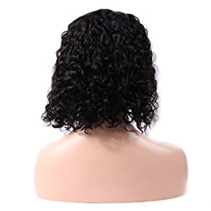 short water wave lace front wig human hair