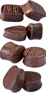Wood Plugs Ear Gauges Set