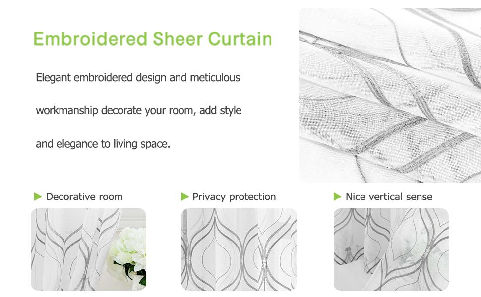 VISIONTEX  Sheer Curtains High quality fabric exquisite craftsmanship elegant design