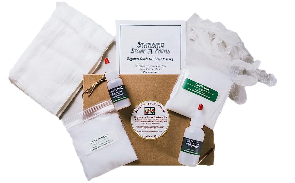 Standing Stone Farms Basic Beginner Cheese Making Kit, Mozzarella, Ricotta, Queso
