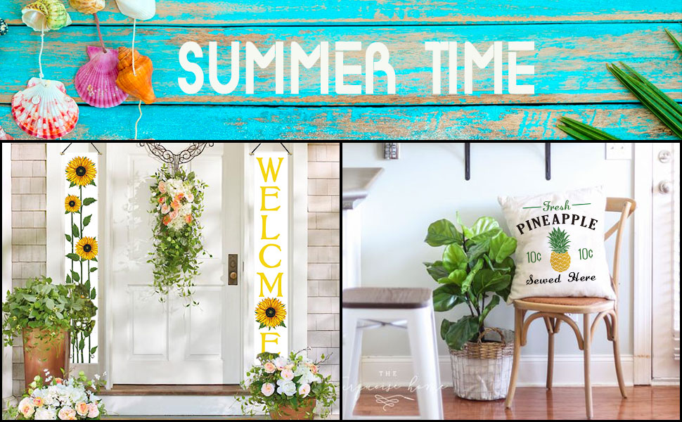 Avoin Welcome Summer Sunflower Hanging Banner Flag Seasonal Decoration Porch Sign For Yard Indoor Outdoor Party 12 X 72 Inch