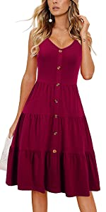 Spaghetti Strap Sundress With Buttons