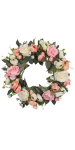 Artificial Pink Rose Wreath 13 Inches