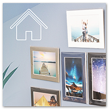 color mats with photo prints on wall display gallery