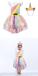 Girls Unicorn Costume Rainbow Dress with Headband Princess Dressing Up Outfit