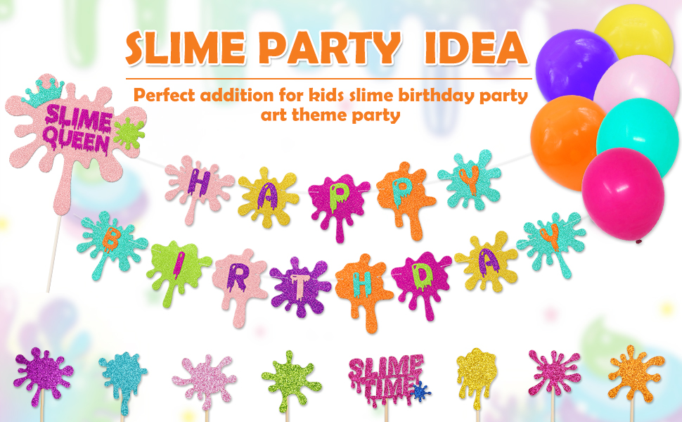 Slime Birthday Party Decorations Kit