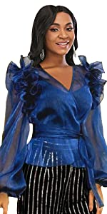 Women's Blue V Neck Lantern Sleeve Ruffles Top Front Tie Transparent Blouse