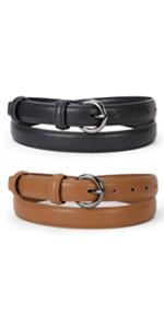 WERFORU Women Leather Belt Waist Skinny Dress Belts