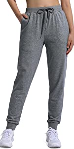 Women's Cotton Sweatpants with Zipper Pockets Drawstring Elastic Waist Tapered Workout Jogger Pants