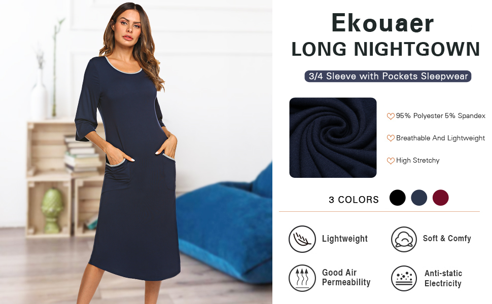 3/4 sleeve long nightgown