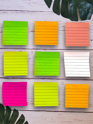lined sticky notes stick on wall