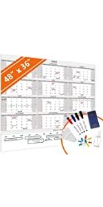 Large dry erase wall calendar 2020