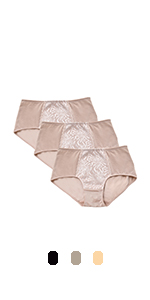 Wingslove Women's Mid Waist Briefs Full Coverage Panties Plus Size Underwear for Women 3-Pack