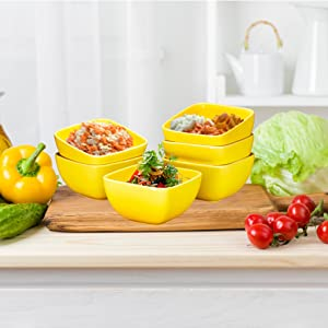 Porcelain Square Bowl Set - 26 Ounce for Cereal, Soup and Fruit