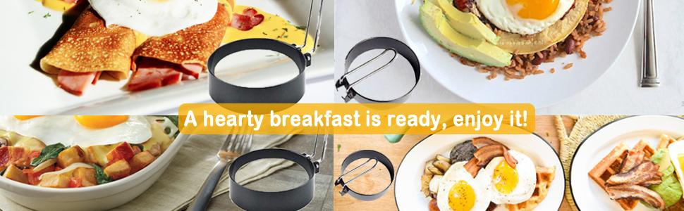 A hearty breakfast is ready, enjoy it!