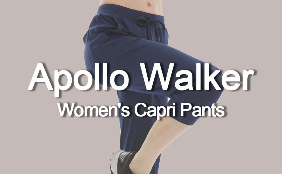 apollo walker women capri jogger  pants drawstring sweatpants with pockets