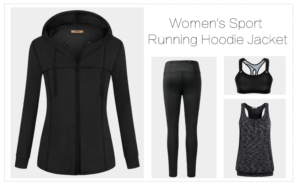Miusey Womens jacket hoodie for women running thin jacket zip up jacket workout clothes shirts tops