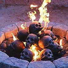 Myard Fireplace Fire Pit Skull Logs