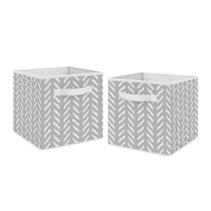 Grey and White Boho Herringbone Arrow Unisex Foldable Fabric Storage Cube Bins Organizer