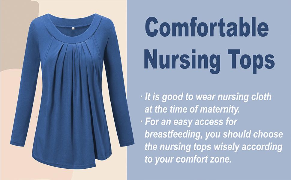 Love2mi Women S Maternity Pleated Flowy Nursing Top Short Long Sleeve Breastfeeding Shirts