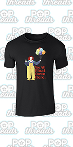 Pop Threads You'll Float Too Loser Lover Horror Scary Clown Graphic Tee T-Shirt for Men