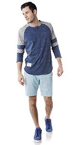 3/4 sleeve raglan henley stripe activewear streetwear leisure camping summer cool
