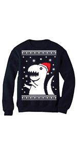 dinosaur Big Trex Santa Ugly Christmas Sweater Style Funny Xmas Sweatshirt