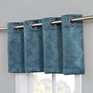 evelyn curtains blackout panel pair insulated thermal embossed scarf drape swag textured valance
