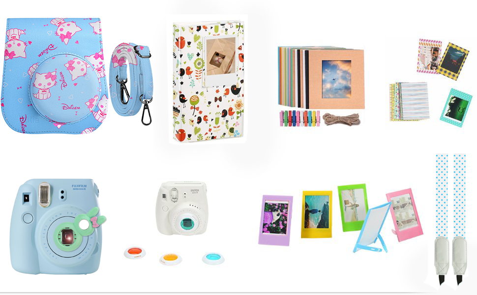 Case /& Accessories Compatible with Fujifilm Instax Mini 9 8 8+ Instant Polaroid Film Camera Filters /& Other Accessories Bundle Pack Include Album by SAIKA Alpaca,7 Items Kit