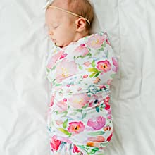 bamboo stretchy swaddle blanket baby newborn watercolor floral flower knit