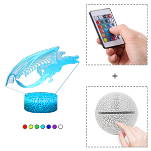 You can control this night light via remote control or smart touch