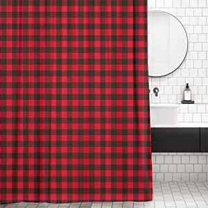 Christmas Plaid Fabric Shower Curtains Hooks for Bathroom Decorations Waterproof Buffalo Check Bathroom Curtains Bonsai Tree Buffalo Plaid Shower Curtain 60x72