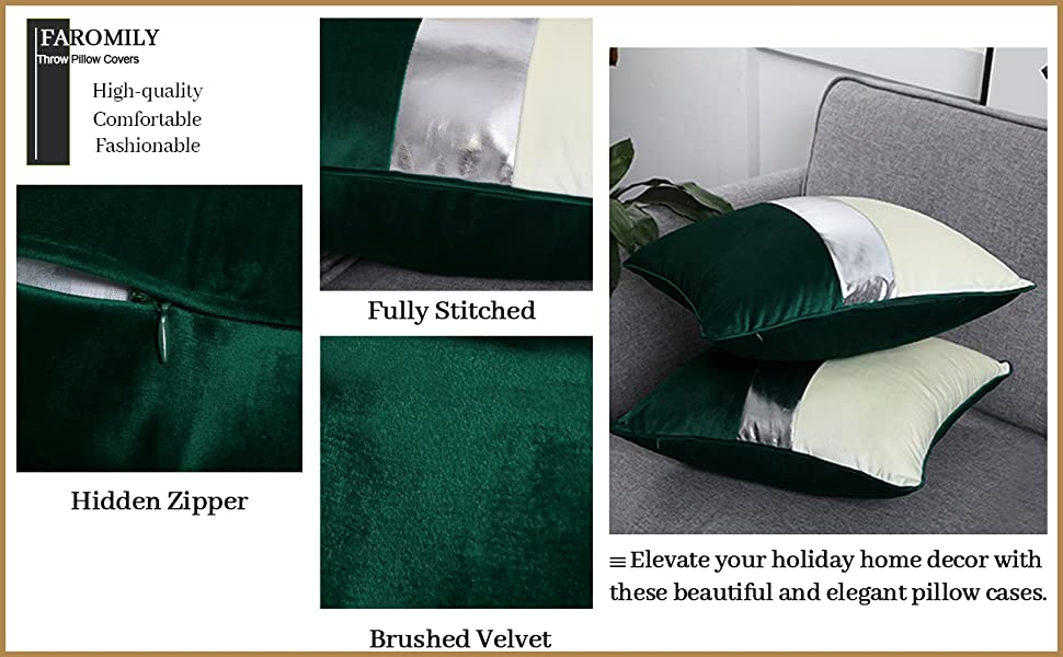 Set of 2 Velvet Throw Pillow Covers Soft Solid Decorative Square Pillowcase for Couch Sofa Bed