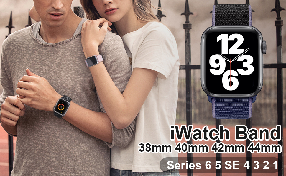Sport Loop Band Compatible with Apple Watch Band 38mm 40mm 42mm 44mm iWatch Series 6 5 SE 4 3 2 1