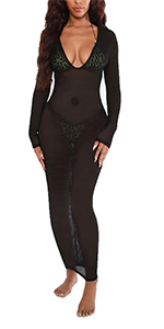 black cover up,long sleeve outfit for women