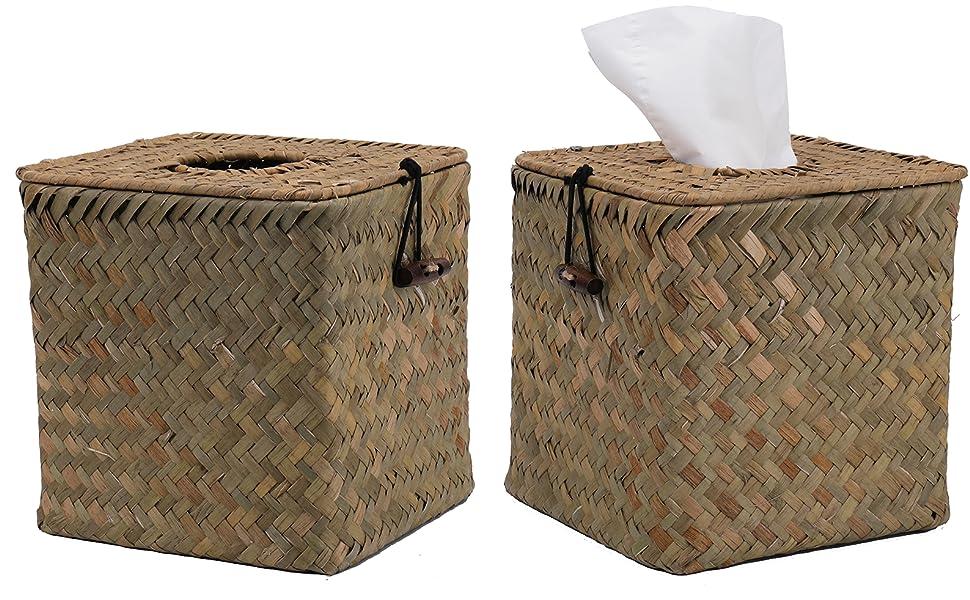 Square Seagrass Facial Tissue Box