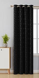 foil print black blackout curtains