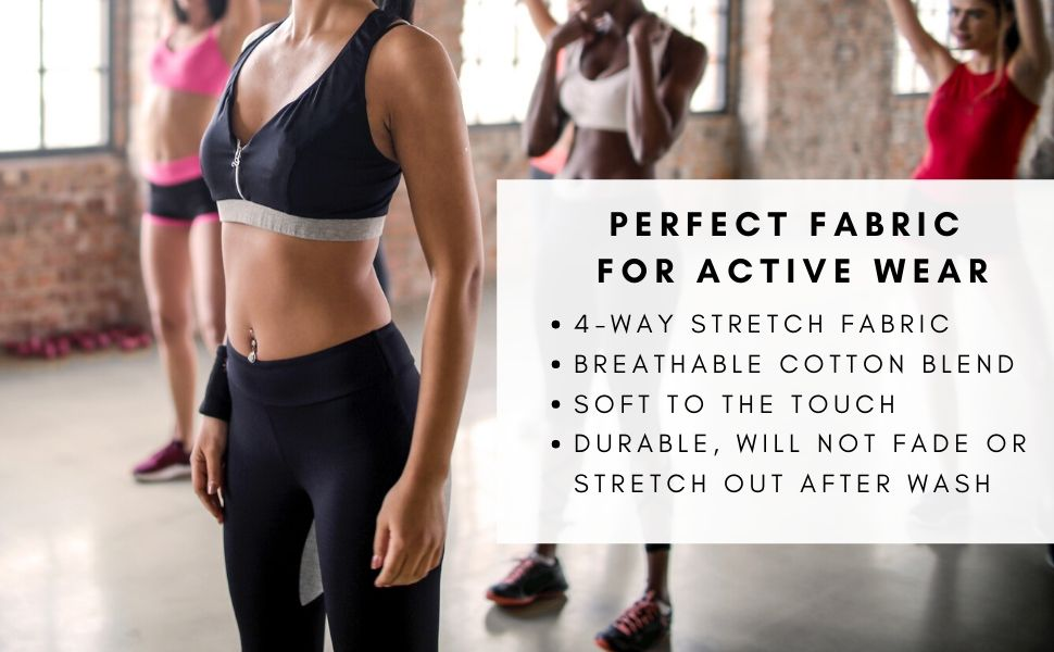 cotton lycra spandex fabric active wear leggings tops
