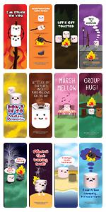 Cute Marshmallow Puns Jokes Bookmarks