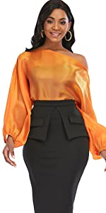 Women's Off Shoulder Top Long Lantern Sleeve See Through Blouse